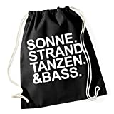 Sonne Strand Tanzen Bass Gymsack Black Certified Freak