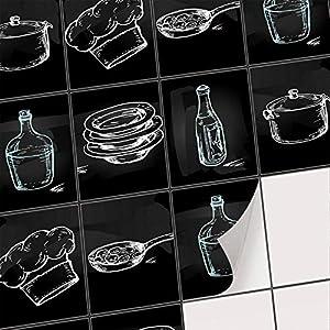 creatisto Mosaik-Fliesen Fliesenaufkleber Fliesenfolie - Selbstklebende Fliesen Folie | Klebefliesen Deko Folie für Fliesen in Küche u. Bad/Badezimmer (15x20 cm | 6 -Teilig)