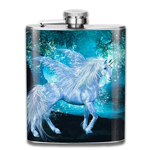 Stainless Steel Flask White Wings Unicorns Whiskey Flask Vodka Alcohol Flask Hip Flask For Men -