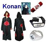 SUNKEE Traje de Cosplay para cosplay Naruto Akatsuki Konan Ninja Set- Capa con capucha(S:Tamaño 150cm-158cm)+caja de lápiz+Konan diadema+anillo