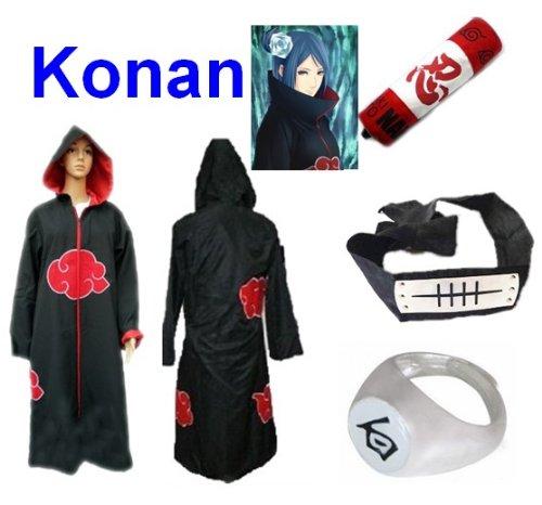 Kostüm Naruto Konan - Sunkee Japanische Anime Naruto Cosplay Konan Set -- Akatsuki Kapuzenumhang Mantel Umhang Größe XXL + Federmäppchen + Stirnband+ Konan Ringe