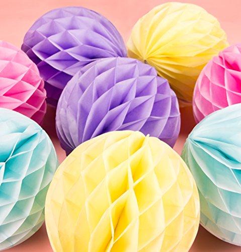 SUNBEAUTY 8er Wabenbälle Pastell Deko Papier Ball 20cm Rosa Lila Gelb Hellblau Seidenpapier Dekoration für Geburtstag Babyzimmer Feier Zeremonie