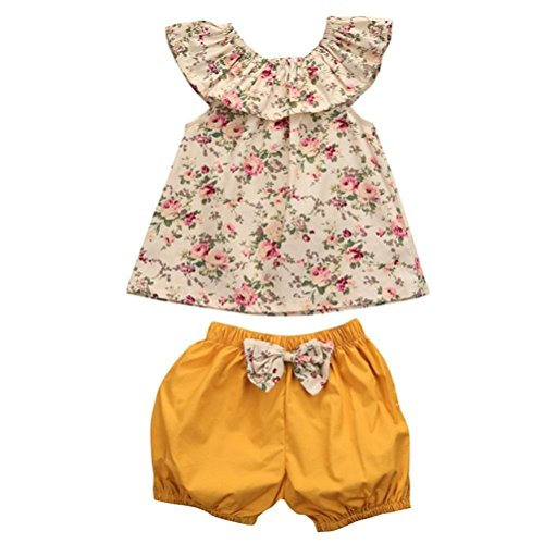 Puseky Infant Toddler Baby Girls Floral Ruffle Shirt and Shorts Clothes Outfit Set (18-24 Months, Floral+Yellow)