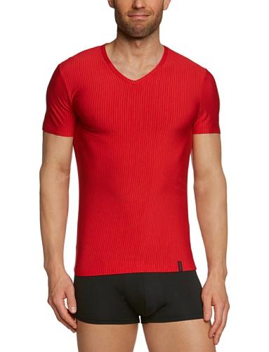 bruno banani Herren T-Shirt Regular Fit, Gestreift 2205-1063 1103 Mehrfarbig (1103 rot/ schwarz Streifen)