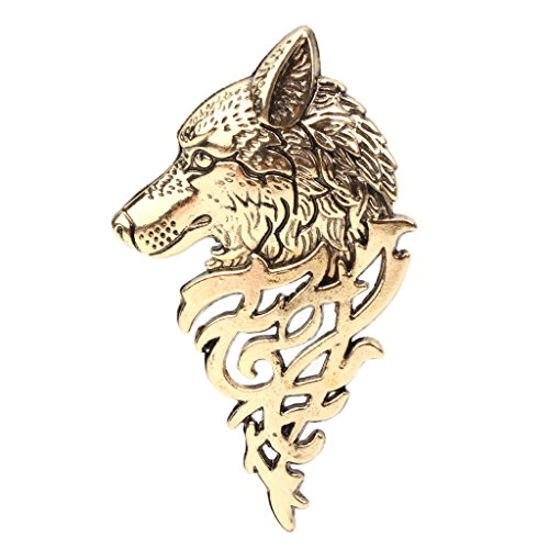 Qiuxiaoaa Korean Version of Personality Simple Male Tide Brooch Wolf Head Retro Man Suit Pin Buckle Key Shirt Thorn Horse Pin Gold Buckle