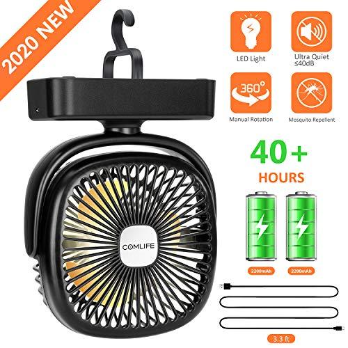 COMLIFE mini USB Ventilator| mit Led Licht| 4400 mAh Batterie| Einstellbare Geschwindigkeiten,leise Tischventilator, Campinglüfter mit Hängehaken für Büro,Garage, Wohnmobil,Zelt | Tischlüfter