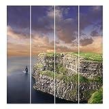 Bilderwelten Schiebegardinen Cliffs of Moher - 4 Flächenvorhänge Wandhalterung 4X 250x60cm