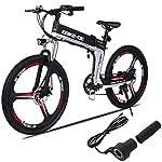 KISSHES-Bicicletta-elettrica-26-pollici-E-Bike-pieghevole-2019-New-Mountain-Bike-pieghevole-con-batterie-agli-ioni-di-litio-da-36V-8Ah-Assorbimento-degli-urti-ad-alta-resistenza-e-Shimano-Gear-Shift-7
