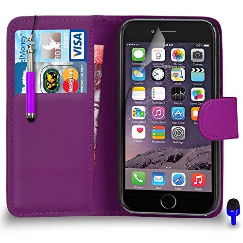 """Apple iPhone 6 (4.7 """"pouces) Premium Leather Blanc Wallet flip écran Housse Pouch + rétractable tactile Stylet + Protecteur & Chiffon PAR SHUKAN®, (BLANC) Violet Foncé"""