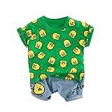 wuayi  Baby Jungen Cartoon Ente Kurzarm T-Shirt + Kurze Hose 3-24 Monate