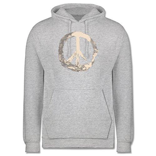Statement Shirts - Frieden - Peacesymbol weiss - Männer Premium Kapuzenpullover / Hoodie Grau Meliert