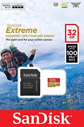 SanDisk - Tarjeta de memoria SanDisk Extreme 32 GB microSDHC para cámaras...