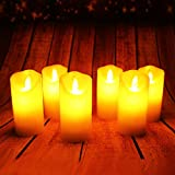 LED Kerzen,Flammenlose Kerzen Dekorations-Kerzen-Säulen im 6er Set Realistisch flackernde LED-Flammen aus Echtwachs in Elfenbeinfarbe.