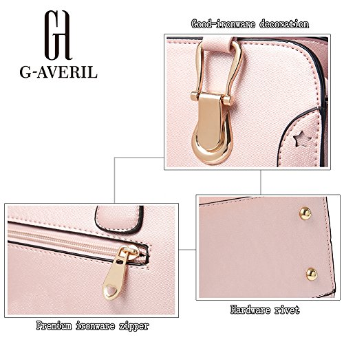 (G-AVERIL)Donna Borsa Handbag borsa a Spalla Borse a mano Tote Bag Shoulder Bag con Mutil tasche Oro
