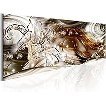 Cuadro en Lienzo 135x45 cm - 3 tres colores a elegir - Impresion en calidad fotografica - Cuadro en lienzo - 1 Partes - abstracto flores a-A-0225-b-b 135x45 cm B&D XXL