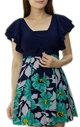 Azyuan da donna One Piece Stampa Halter Shaping corpo intero Plus Size Swimwear Green