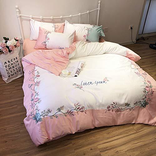yaonuli Seide 4-teiliges Set Tencel Laken Mädchen Herz einfache EIS Seide Sommer cool liefert Pulver 1,8 Meter Bettlaken Stil