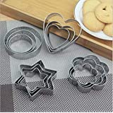 Inditradition 12 Pieces Cookie Cutter Set | 4 Different Shapes, 3 Sizes, Stainless Steel