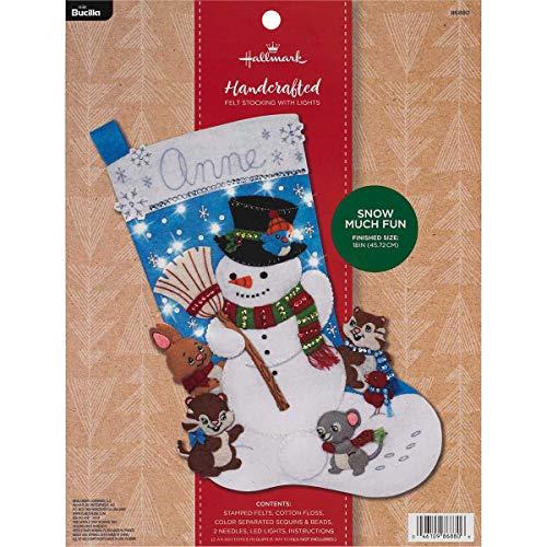 Bucilla 86880Schnee viel Spaß-Weihnachtsstrumpf aus Filz, 45,7cm Multi (Weihnachtsstrumpf Filz Kit)