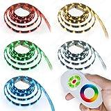 3 m LED RGB Strip Leiste Band SMD 5050 mit 90 LEDs ink Netzteil+Touch Controller + Fernbedienung Komplett Set-IP65 Wasserdicht-Mehrfarbig