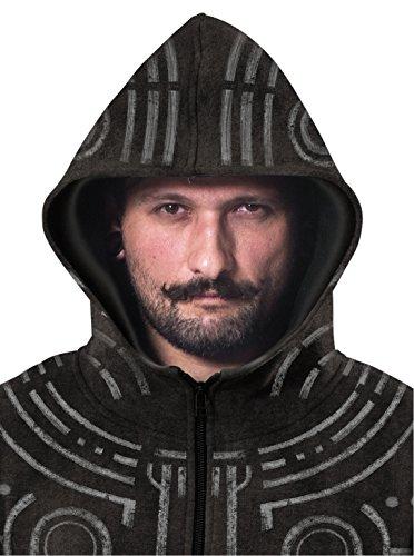 Herren Kriegsbemalung Hoodie Vollflächiger Druck Aztek Schwer Reißverschluss Sweatshirt Schwarz Verwaschen Schwarz
