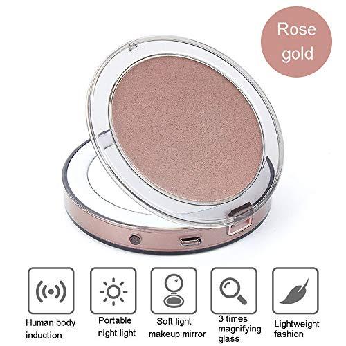 DRQ Touch LED Miroir De Maquillage Lumière USB Charge Miroir Pliant Mini Lampe Portable Miroir De Maquillage,Rosegold