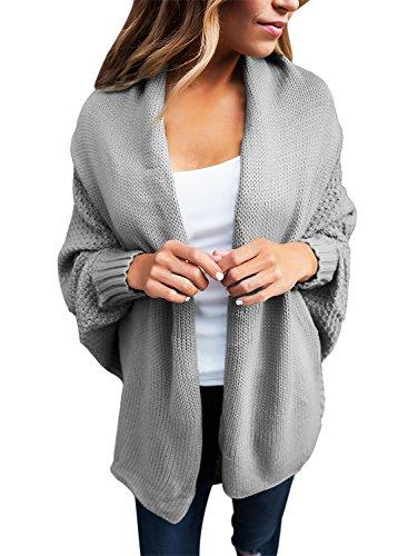 GOSOPIN Frauen Strickjacke Solid Wasserfall Zopfmuster Cardigan Mode Plus Size high Neck Bekleidung Grau L