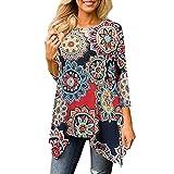 Damen T Shirt,Geili Mode Frauen Casual O-Ausschnitt Blumendruck 3/4 Arm T Shirt Damen Sommer Herbst Unregelmäßiger Rand Bluse Tops Freizeit Oberteile Hemd