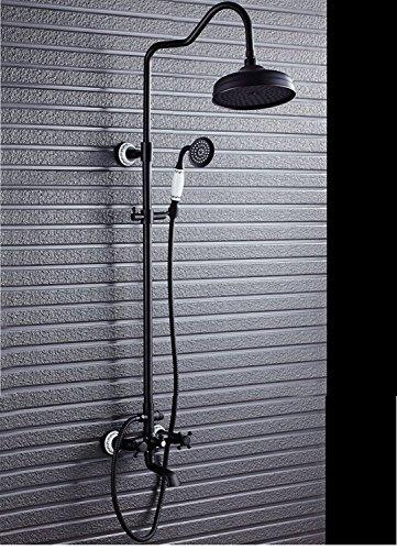 Yjmgrowing Waschraum-Zubehör An der Wand befestigter Duschhahn, justierbares Steigrohr-Regendusche-System mit Handshower, schwarzes antikes Messing Familiennutzung - Wand Handshower Set