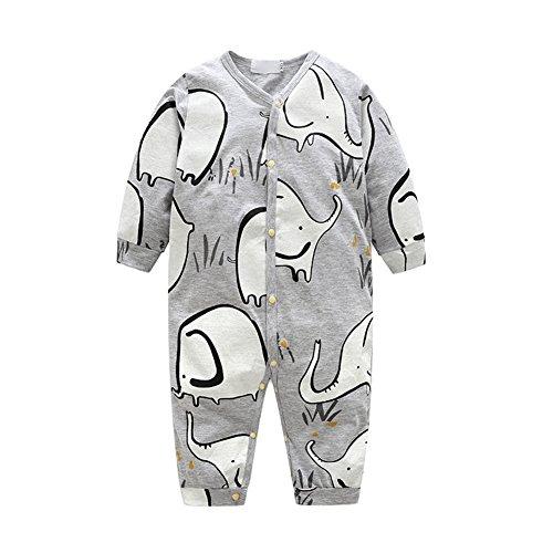 OuYou Recién Nacido Pijama Bebés Algodón Mameluco Niñas Niños Peleles Mono Trajes Patrón de Lindo Elefante Primavera y Otoño (95cm)