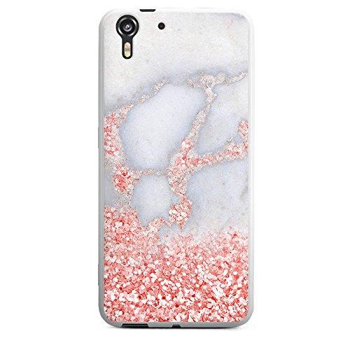 HTC Desire Eye Silikon Hülle Case Schutzhülle Glitzer Look Marmor Pink
