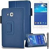 Funda Samsung Galaxy Tab 3 7,0 Lite de piel con tapa de PU Caso de Funda Smart Case de piel con tapa para Samsung Galaxy Tab 3 7,0 pulgadas tablets Lite SM-SM-T110 T111 SM-T113 SM T116 Case-Carcasa con protector de pantalla y lápiz capacitivo azul oscuro Samsung Galaxy Tab 3 Lite 7.0/T110