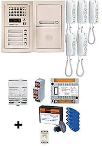 Aiphone - Pack interphone audio collectif platine encastrée 5 appels + VIGIK - GTA5EV ref:200353