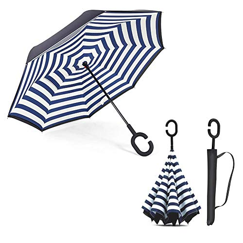 smileyshy Folding Umbrella, Double-Sided Reverse Umbrella with C-Shaped Handle, Windproof Foldable Ergonomics, Suitable for UV Protection for Women Outdoors