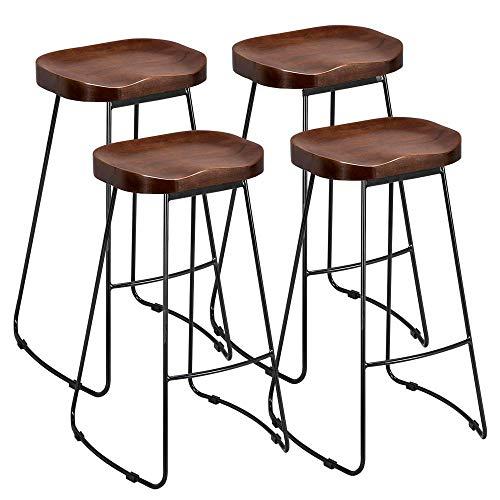 Yaheetech Barhocker 4er Set Bistrohocker Industriedesign Barstuhl Küchen Hocker Stuhl Metall Holz Stuhl