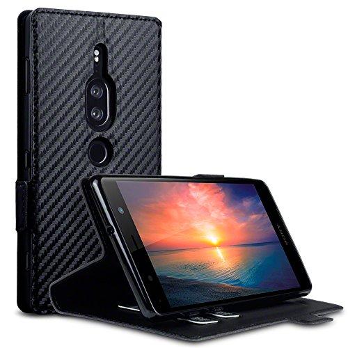 TERRAPIN, Kompatibel mit Sony Xperia XZ2 Premium Hülle, Leder Tasche Case Hülle im Bookstyle mit Standfunktion Kartenfächer - Schwarz Karbonfaser Dessin