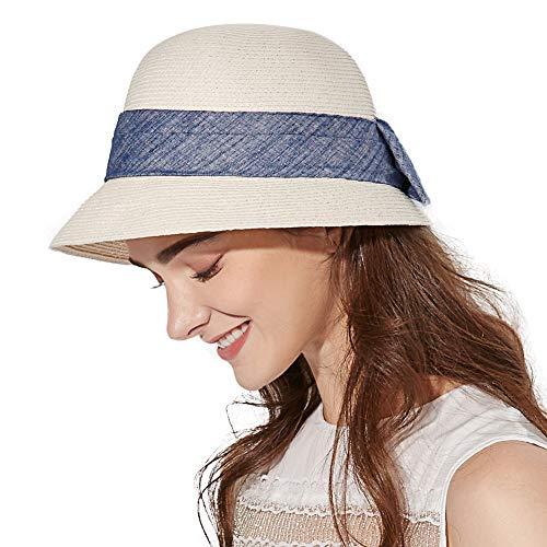 SIGGI Faltbarer Sonnenhut Sommerhut Strohhut UPF 50 + Sonnen Shade breite Krempe Damen mit Schleife Weiß - Klassische Für Hüte Frauen