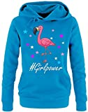 GIRLPOWER Flamingo ! Damen Hoodie - Sweatshirt mit Kapuze Sky, Gr.S