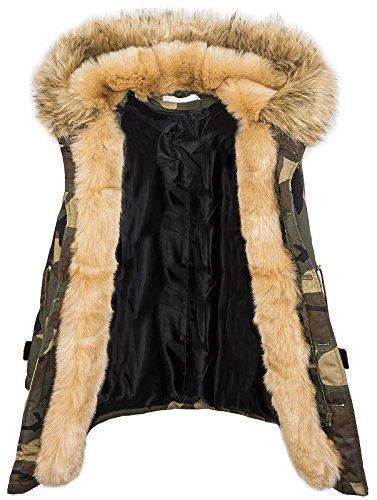 Damen Winter Parka Kunstfell Kapuze Army-Look warm D-197 S-L Beige