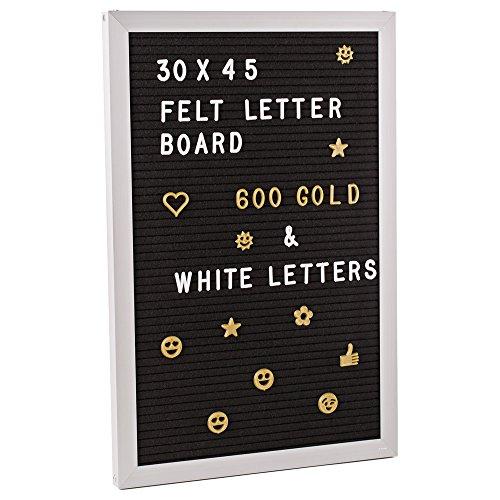 Menü-board Mit Buchstaben (Gadgy ® Letter Board Aluminium und Filz 30x45 cm | Buchstaben Tafel Buchstabenbrett Rillentafel | Mit 660 Weiße und Goldfarbige Buchstaben, Zahlen & Symbole | Retro Felt)