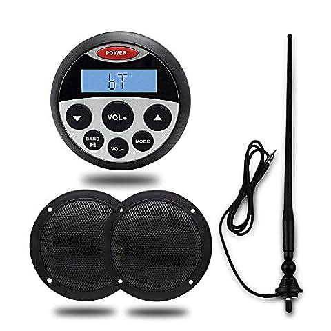 Marine stéréo Bluetooth 10,2cm étanche USB MP3AUX IN/OUT Audio Système de son avec 10,2cm 160Watts étanche Bateau haut-parleurs et flexible et FM Radio AM antenne