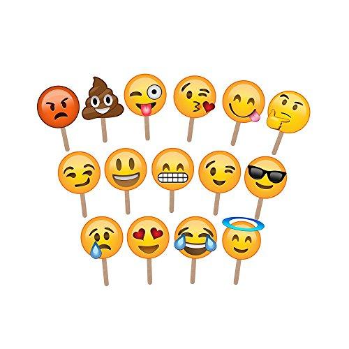 emoji party deko ASVP Shop® Fotostützen für Fotos und Fotoausstellung in verschiedenen Emoji-Designs, groß genug, um das Gesicht abzudecken - ideal für Hochzeiten und Partys (15er Pack).