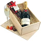 champagne Gift Hamper - Champagne and Chocolates Gift Box with Luxury Moet Chandon Champagne - Ideal for Happy Anniversary Gifts
