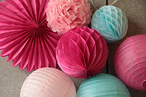SUNBEAUTY 7er Set Rosa Pink Blau Kombination Feier Dekoration -
