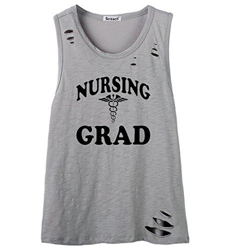 So'each Women's Nursing Grad Letters Graphic Printed Tanks Camis Tops Grau