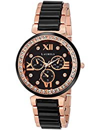 Laurels Victoria Black Dial Analog Wrist Watch - For Women