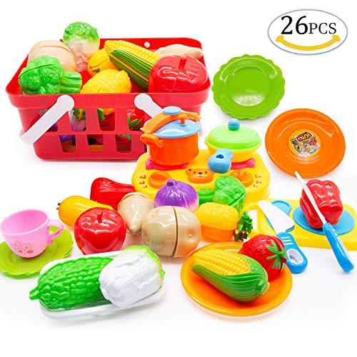 Yansion 26 stücke schneiden Obst gemüse Lebensmittel Spielzeug, Lebensmittel Spielzeug Küche Kochen kit Pretend Lebensmittel Spielset Spielzeug für Kinder Weihnachten /Geburtstag Geschenke