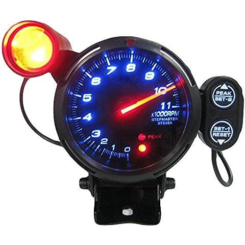 KKmoon 3,5 Pollici Kit di Tachimetro Gauge LED Blu 11000 RPM Meter con Regolabile Luce dello Spostamento + Passo Motore Nera