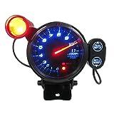 KKMOON 3.5 ' Kit Tachymètre Gauge LED bleue 11000 RPM avec réglable Shift Light + Stepping Motor noir