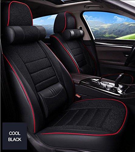 YLG Auto Sitzbezug Auto Sitzkissen 5 Sitze Full Set, Leder Autositzbezüge Kissenbezüge, Vier Jahreszeiten Universal,Blackred